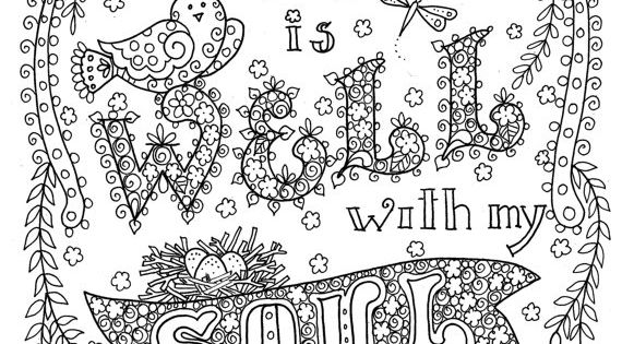 Digital Download Hymn Coloring Page It Is Well With My