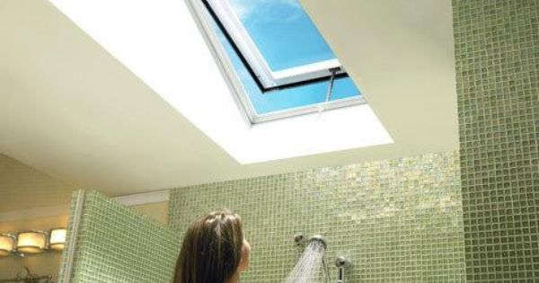 Vent Your Bathroom With A Stylish Upgv Roof Window If It S Too High To Reach Consider A Control Rod Or Remote Control Wi Skylight Design Roof Window Skylight