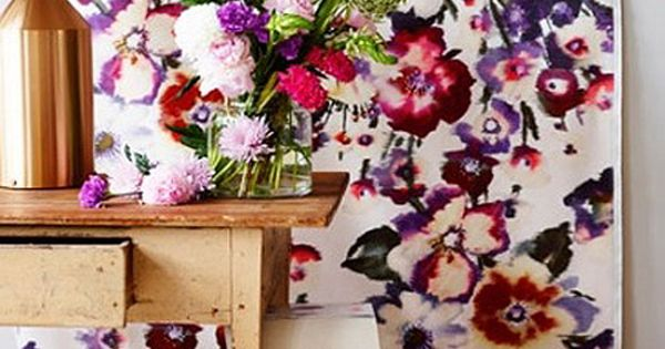Norwegian interior stylists Jannicke Kråkvik and Alessandro D'Orazio floral wallpaper