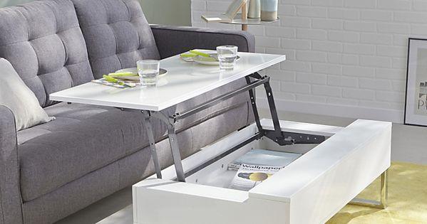 Novy Table Basse Avec Tablette Relevable Blanche Manger
