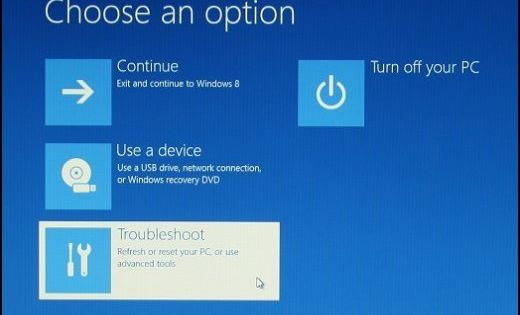 Image Of Choose An Option Screen With Troubleshoot Selected