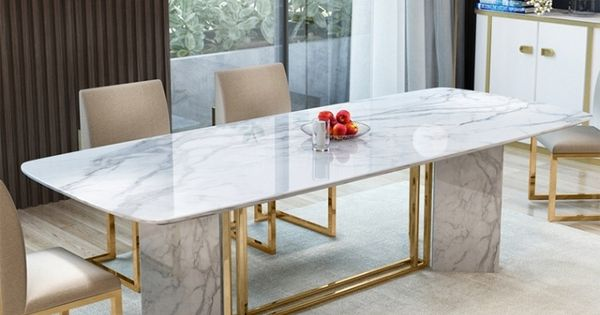 Modern Stylish 63 71 79 White Faux Marble Dining Table Rectangular Table In Brushed Gold Di Dining Table Marble Marble Dining Faux Marble Dining Table