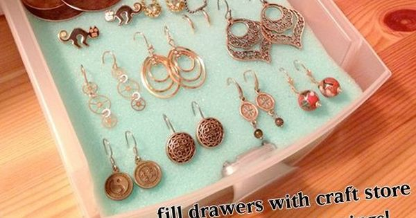 Organize Jewelry with storage drawers and craft foam! Great idea if you
