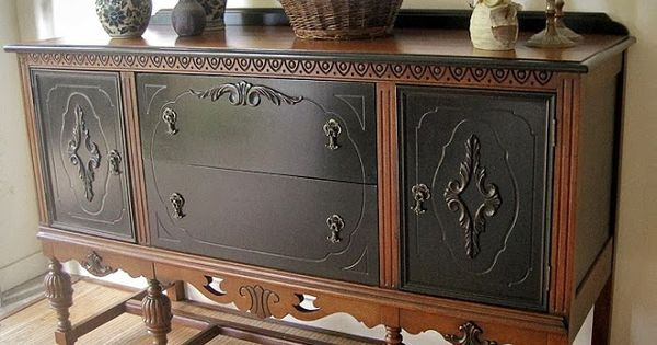 Walnut and black buffet sideboard makeover by porta for Sideboard porta
