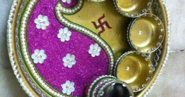 Pooja thali decoration aarti thali pinterest for Aarti thali decoration with clay