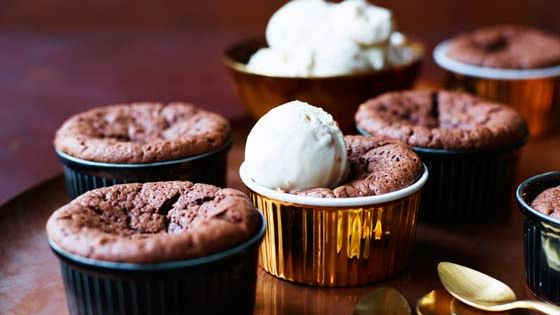 Hot chocolate brownie peanut butter puddings with salted peanut and ...