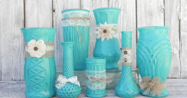 Burlap And Lace Rustic Set Of Turquoise Vases Vase Collection For Weddings Showers Receptions