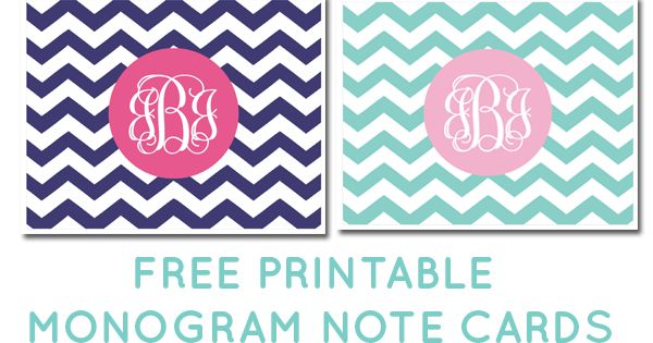 Free printable monogram chevron note cards click to download and make your own for Free monogram printable