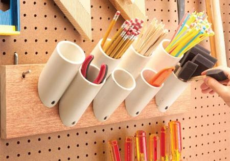 Roundup: 10 DIY Garage Organization Ideas: PVC storage