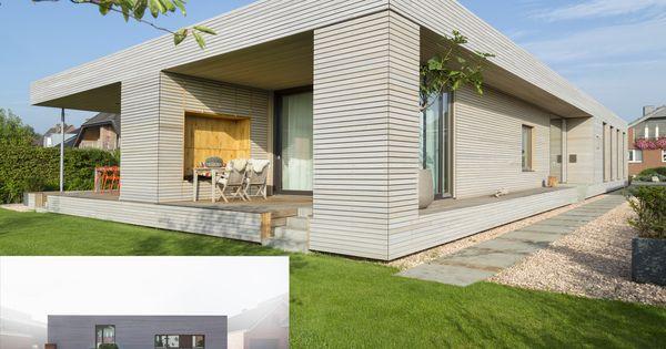 modernes wohnhaus mit einer grauen massivholzfassade • dura patina, Innenarchitektur ideen