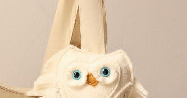 Snow Owl Wool Felt Plush Home Ornament White Home Decor
