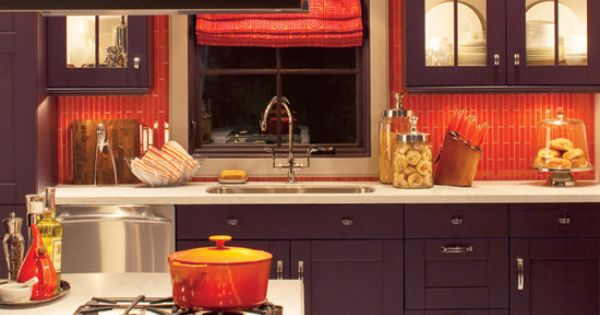 bright orange tile backsplash - photo #12