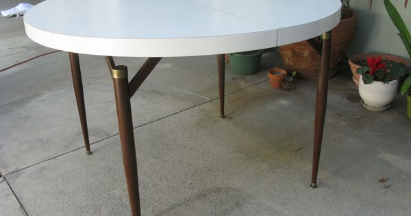 Mid Century Modern Walter Of Wabash White Laminate Dining Table With Leaf More White Laminate