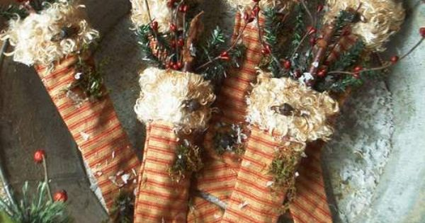 primitive Christmas stocking ornies from The Old Glory Company...e-pattern $7.50