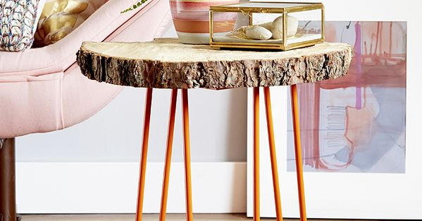 Diy tree slab table diy pinterest hairpin legs legs for Cheap hairpin legs