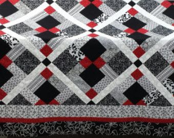 Gorgeous Black White And Red Custom Made Queen Size Quilt Queen