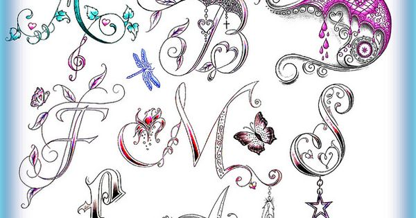 alphabet fonts by denise a wells wells custom tattoo and tatt. Black Bedroom Furniture Sets. Home Design Ideas