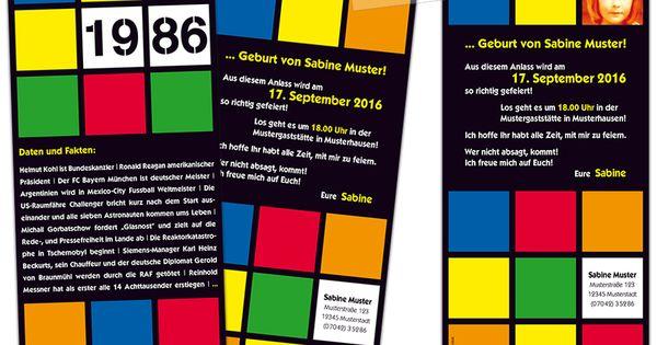 einladungskarte zum geburtstag im retro-stil der 80er jahre für, Einladungsentwurf