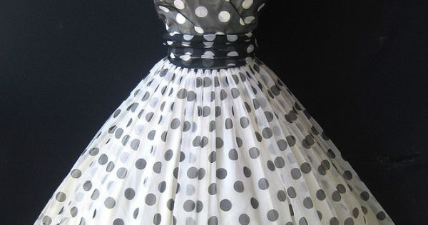 1950s Polka Dot Chiffon Party Dress with crinoline.