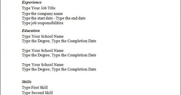 simple sample resume templates simple resume template