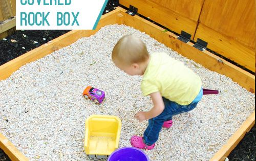 Making a covered rock box. Neat idea instead of sand.