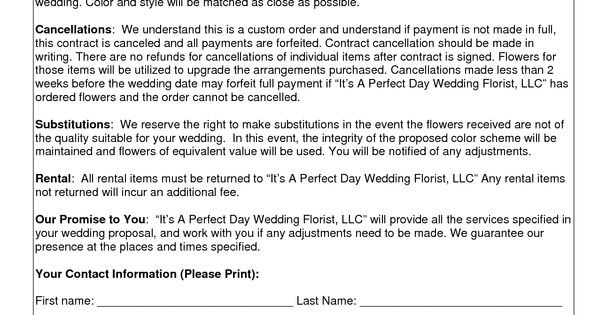 Wedding Flower Contracts Wedding Florist Contract Template