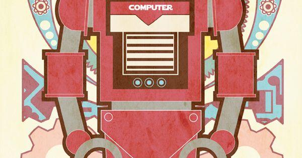 ☮~ Retro ROBOT ❤ Vintage illustration, design and poster art.