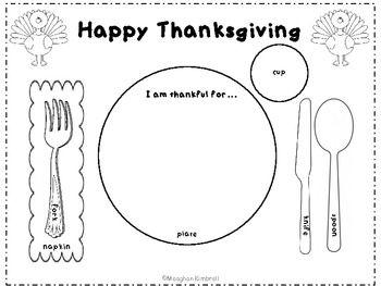 Thanksgiving Place Setting Placemat Thanksgiving Preschool