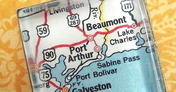 Vintage Galveston Port Arthur Beaumont Tx Map Pendant