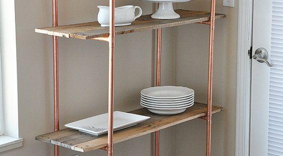 tag re en bois r cup r avec ch ssis en cuivre tag res de cuisine tag re diy faire. Black Bedroom Furniture Sets. Home Design Ideas