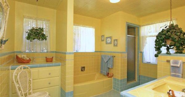 vintage yellow blue bathroom home bathrooms tile pinterest the black blue bathrooms. Black Bedroom Furniture Sets. Home Design Ideas