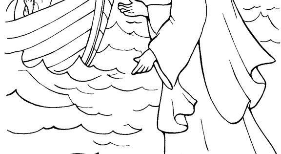 jesus walking on water coloring page - jesus walks on water coloring page could use with http