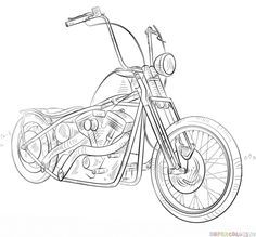 How To Draw A Chopper Bike Step By Step Drawing Tutorials For Kids And Beginners Bike Drawing Motorcycle Drawing Motorbike Drawing