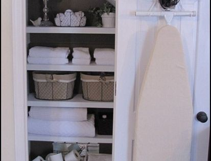 Put iron and ironing board in linen closet. Great idea!