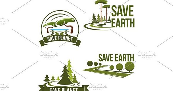 Vector icons set for save earth ecology protection