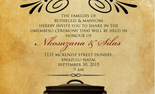 Downloadable zulu south african traditional wedding for Wedding invitations wording south africa