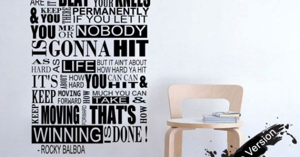 Rocky balboa mural inspirational quote wall sticker by