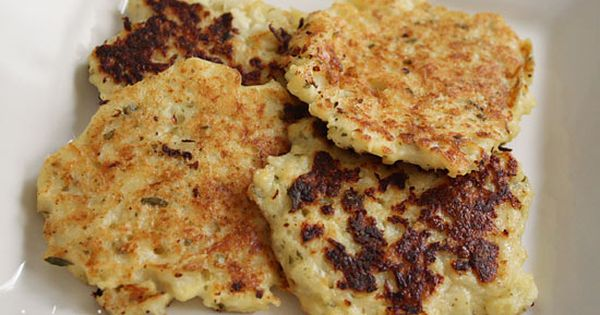 CAULIFLOWER FRITTERS. Ingredients include chopped, cooked cauliflower, garlic, whole wheat flour, eggs,