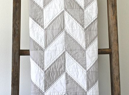 Grey & white Herringbone quilt & beautiful weathered wood quilt rack