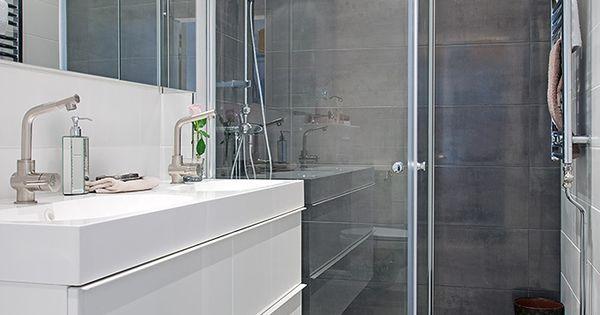 Inspiration meubles ikea blancs avec grands carreaux gris for Douche salle de bain ikea