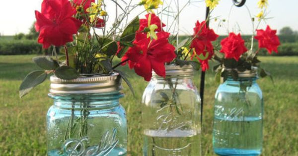 Hanging garden in Ball canning jars. could put floating candles in these