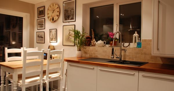 White Kitchen With Wooden Worktops curved white laquer with wooden worktops