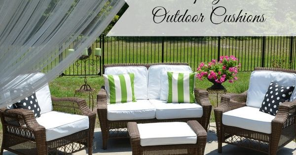 painted fabric outdoor cushions using a paint sprayer outdoor. Black Bedroom Furniture Sets. Home Design Ideas