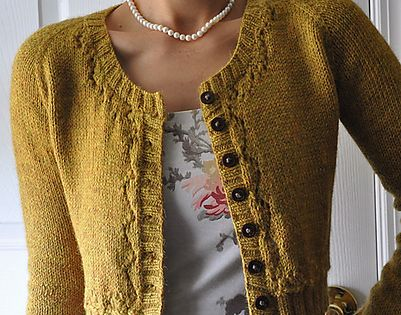 Fitted cardigan, lovely neckline, and pearls sweater pattern on Ravelry: hapichick's Fall