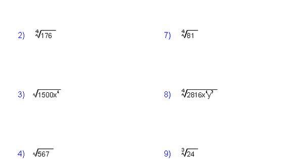 Simplifying Radicals Worksheets