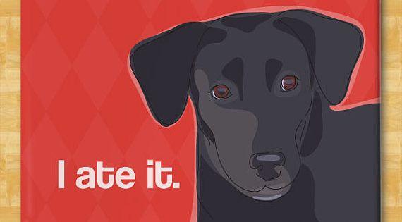 Labrador Retriever Magnet - I Ate It - Black Lab Gifts Fridge