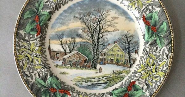 "Vintage Adams China ""Winter Scenes"" Dinner Plate - Winter ..."