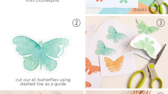Printable watercolor butterfly decorations