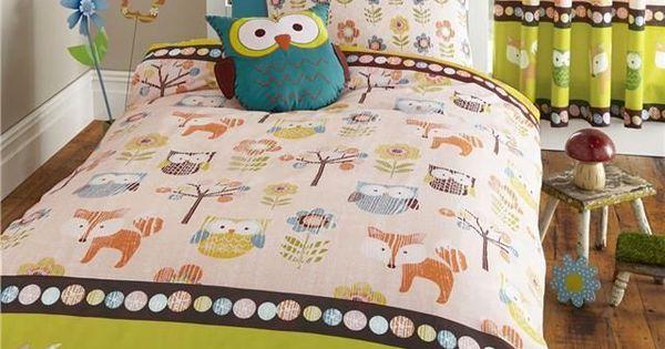 Details About Woodland Animals Owls Bedding Set Duvet