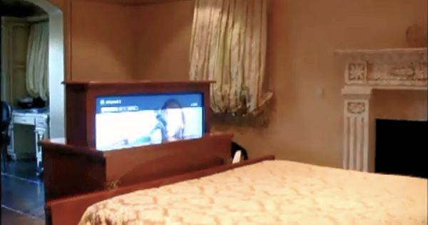 by tech junkies simi valley 46 hidden tv at the foot the bed pops up out of custom built. Black Bedroom Furniture Sets. Home Design Ideas